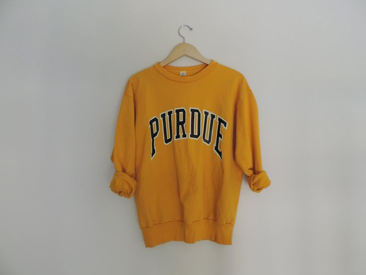 Vintage Purdue University Gold & Black Crewneck Pullover Sweatshirt // Size LARGE by WildKardVintage on Etsy