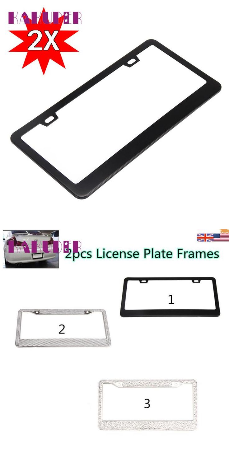 [Visit to Buy] Plate Frames Tag Cover 2 Pieces Stainless Steel Metal License  Screw Caps Black Marcos de placas quality new safely 17may18 #Advertisement