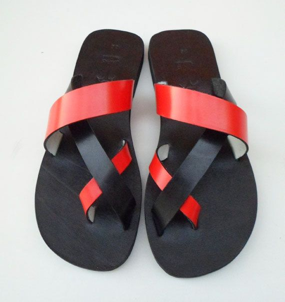 Leather Handmade Black And Red Cool Summer Slide Sandals by Calpas, $60.00