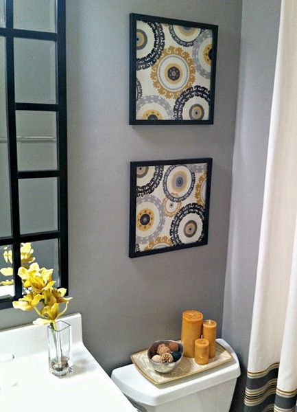 Scrapbook paper or fabric framed for easy art pieces.