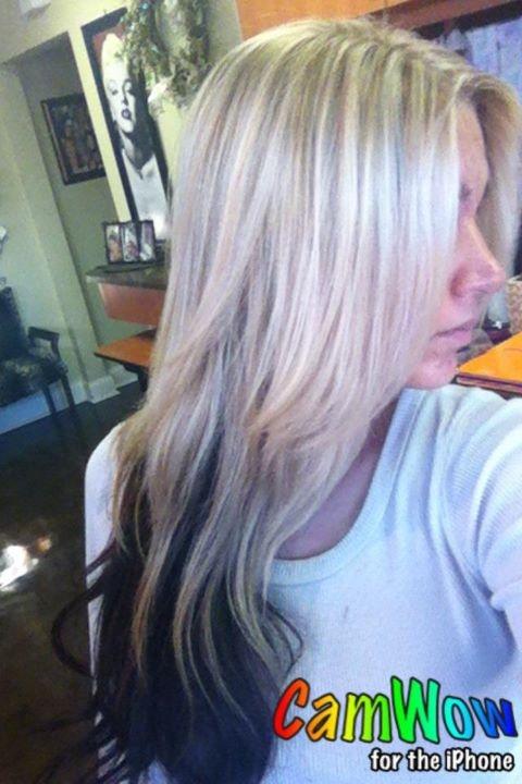 dark brown on top instead of blond, red/auburn on bottom ...
