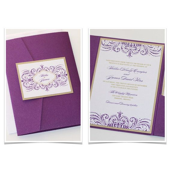 107 best Wedding Invitations images – Gold and Purple Wedding Invitations