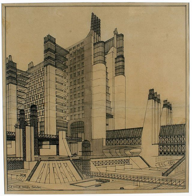 """Antonio Sant`Elia (1888-1916), """"Casa con ascensori esterni e sistemi di collegamento su più piani stradali"""", La Città Nuova, 1914."""