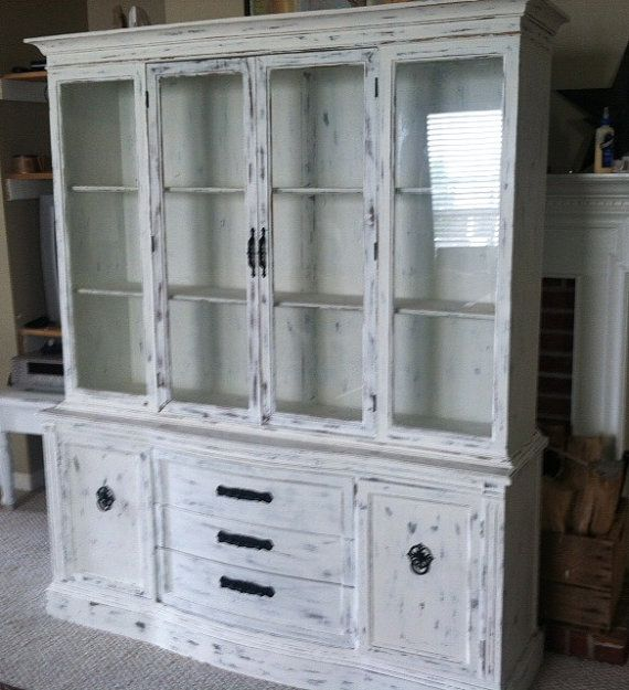 White Kitchen Buffet: White Distressed Buffet Hutch By JNLKreations On Etsy