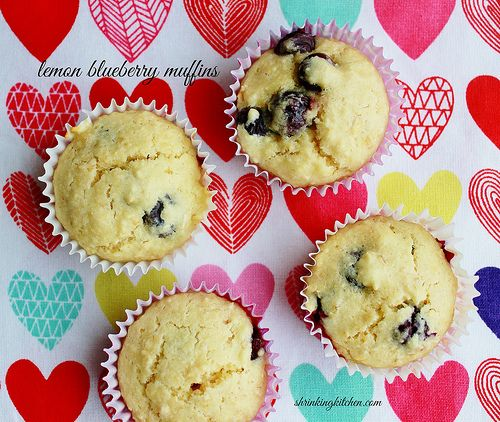 These wonderful Lemon Blueberry Muffins are lightly sweet and perfect for a breakfast treat or a snack with a hot cup of tea or coffee! shrinkingkitchen.com