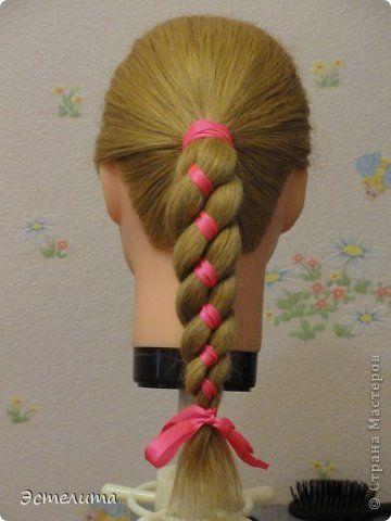 Плетение - МК коса 4 пряди с лентой