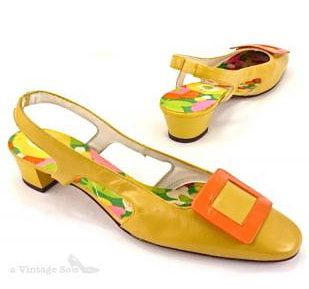 60s vintage color block shoes