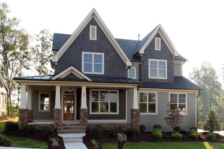 Bristol craftsman with a full front porch in briar chapel for Stone accents