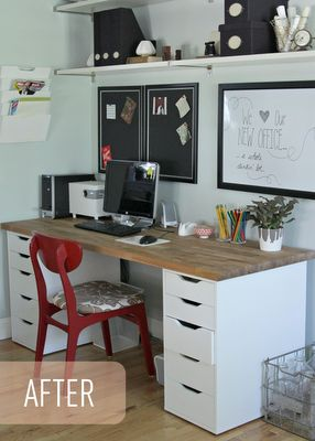 Ikea Office Makeover - This is exactly what I was thinking!!! Draws and counter top, just longer to fit both computers and maybe craft/homework space in the middle?