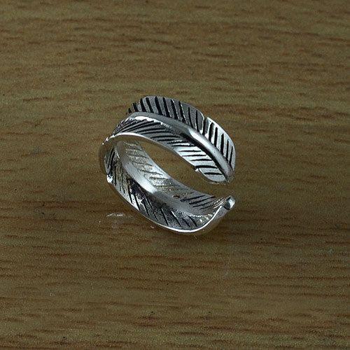 Pluma diseño plata esterlina anillo de dedo del pie  Anillo de dedo del pie de…