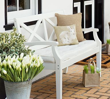 Hampstead Porch Bench & Cushion - White #potterybarn
