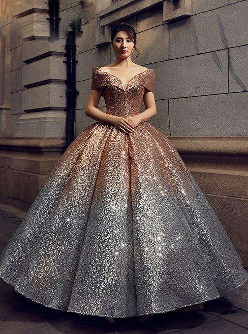 fc07791931ff Ball Gown Gold Silver Sequins Off The Shoulder Prom Dress in 2019 ...