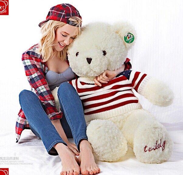 Огромный белый прекрасный плюшевые большой плюшевый мишка игрушка красивый флаг сша свитер белый медведь кукла подарок кукла около 140 см
