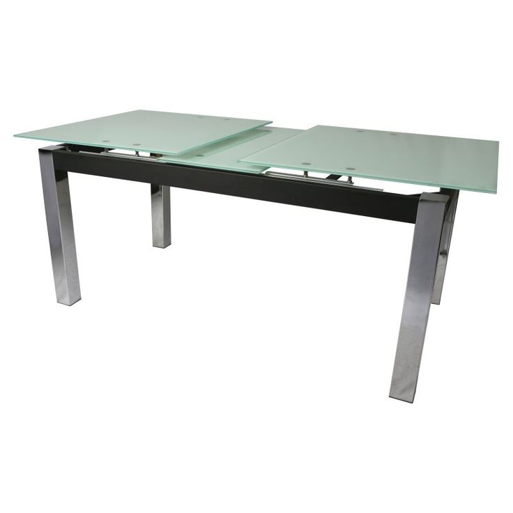 Pastel Furniture Monaco Rectangular Table W Extension Leaf In Chrome Contemporary Dining Tables