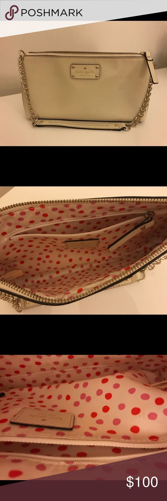 White Leather Kate Spade Shoulder Bag Crisp white Kate Spade leather shoulder bag. Chain and leather strap. Beautiful pink polka dot interior. Interior and exterior are like brand new. Very lightly worn, only a few times. kate spade Bags Shoulder Bags