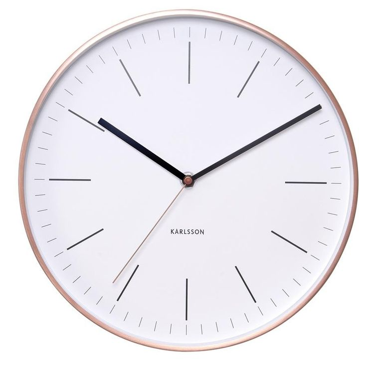 Wall Clock Watch - White with Copper Case