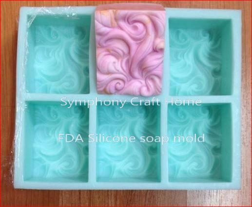 6 Cavity Wavy Silicone Mold, Silicone soap mold, Fondant molds, CP soap molds