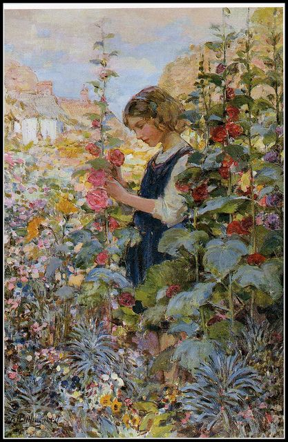 This is a lovely illustration depicting Ida in her garden from the story from Hans Christian Anderson.