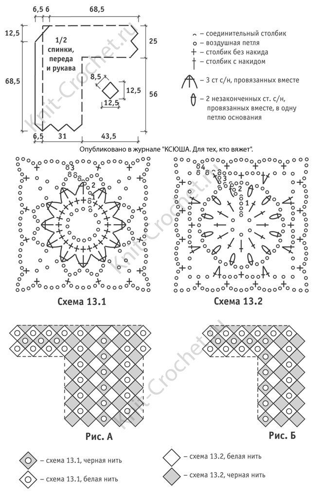 Выкройка, схемы узоров с описанием вязания крючком женского кардигана из двухцветных ромбов размера 52-54.