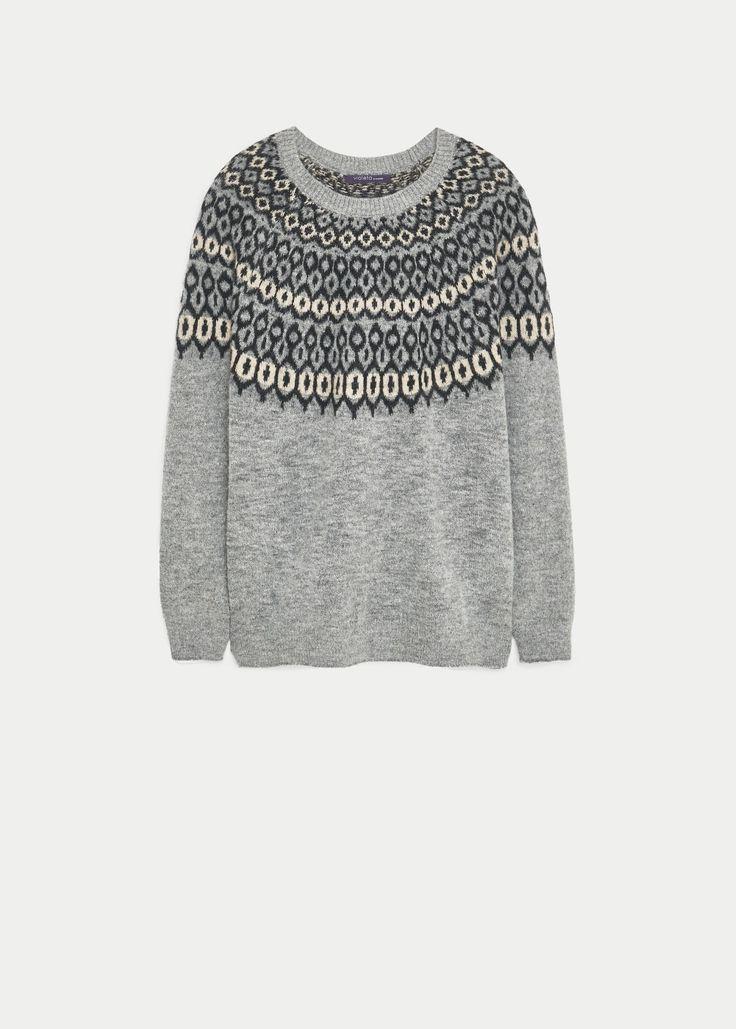Geometric wool-blend sweater - Sweaters Violeta | VIOLETA BY MANGO