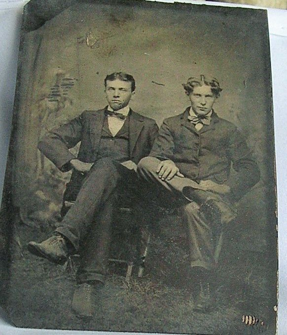 Early tintype Two Brothers Uncomfortable in front of camera Two men melainotype