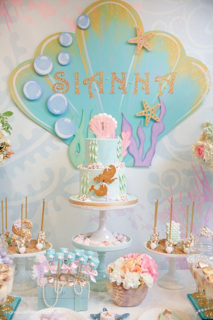 Cakescape from a Pastel Mermaid Birthday Party via Kara's Party Ideas | KarasPartyIdeas.com (43)