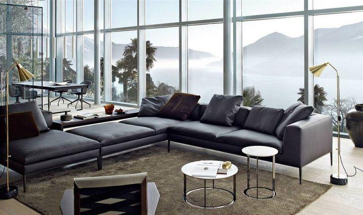 canapé italien moderne en cuir noi,r B&B Italia- Мichel sofa