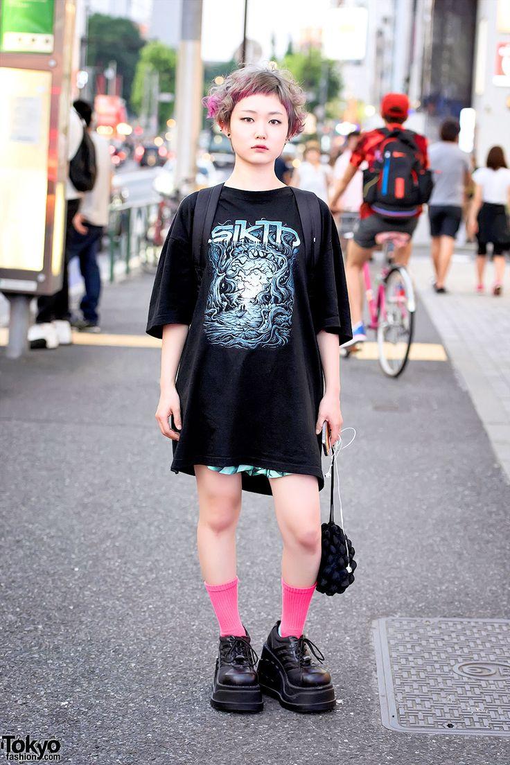 Harajuku Girl w/ Pink-Blonde Hair, Punk Cake Platforms, Sikth Tee, Uggla &…