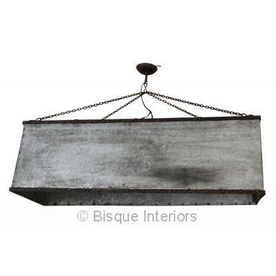 Bisque interiors rectangular box pendant light zinc/iron finish