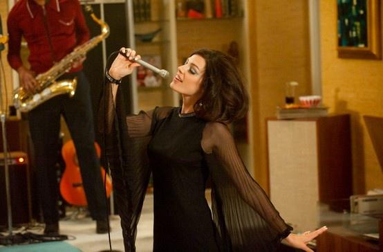 Megan's show-stopping black mini-dress