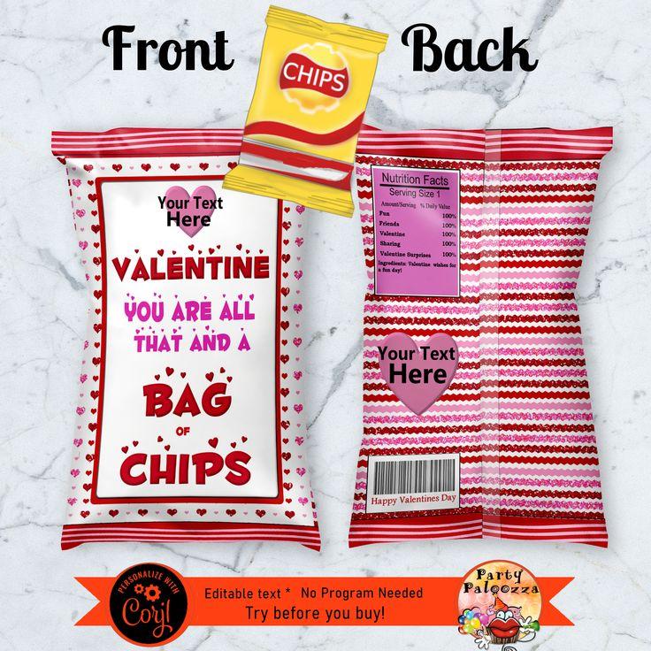 Printable Valentine chip bag wrapper Chip bag