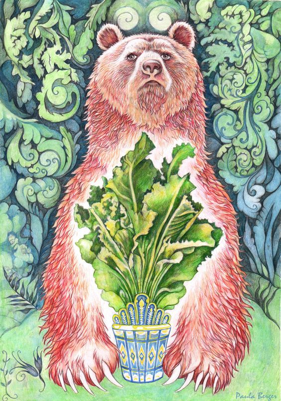 "The Bear which guarded the wonderful lettuces in ""Harap Alb"". One of the heavy tasks the fairy tale prince is supposed to pass is steal some rare lettuces which grew only in the Garden of the Bear. The lettuces were thoroughly guarded and whoever tried to steal any would not leave the place alive. Watercolour."