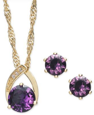 45c6a3b166090 Gold-Tone Pavé and Stone Pendant Necklace & Stud Earrings Set, 15