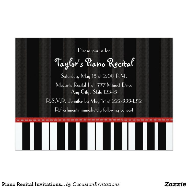 13 best Recital invitations images on Pinterest Piano recital