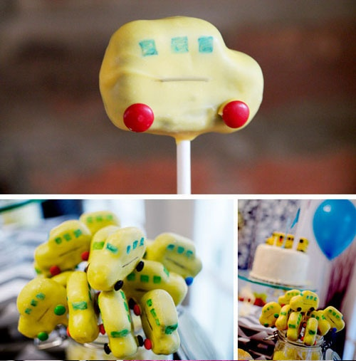 Yellow School Bus First Second Birthday Party Shaped Cake Pops