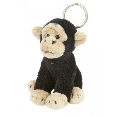 Image of Printed Chimp Keyring. 10 cm Monkey Fur Keyring.