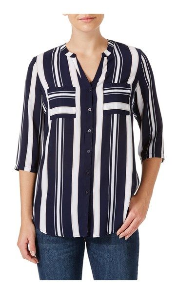 Rockmans 3/4 Sleeve Smart Stripe Shirt | Tops & Tunics | Rockmans
