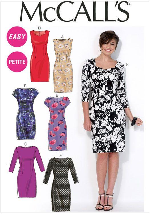 Miss Petite Dresses McCalls Sewing Pattern No. 7085.