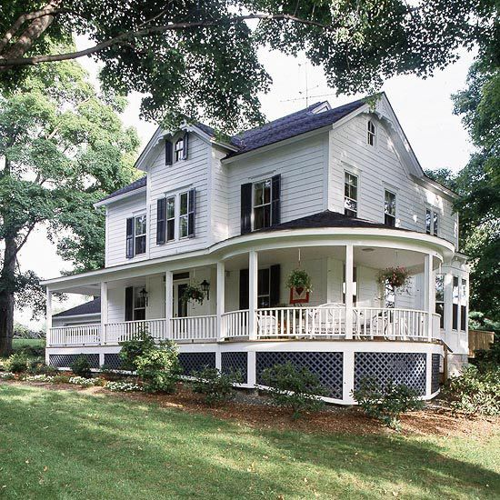 We love this Victorian wrap-around porch. It makes an incredible statement! More front porch ideas: http://www.bhg.com/home-improvement/porch/porch/wrap-around-porch-ideas/?socsrc=bhgpin101613victorianwraparounds&page=1