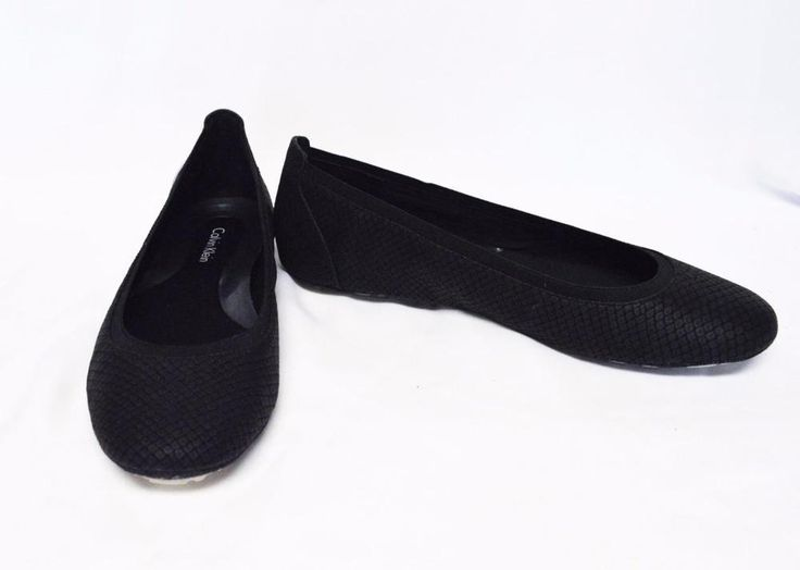 NEW Calvin Klein 8.5M/39 Maida Ballet Flats Black Printed Leather Thin Sole #CalvinKlein #BalletFlats #Casual