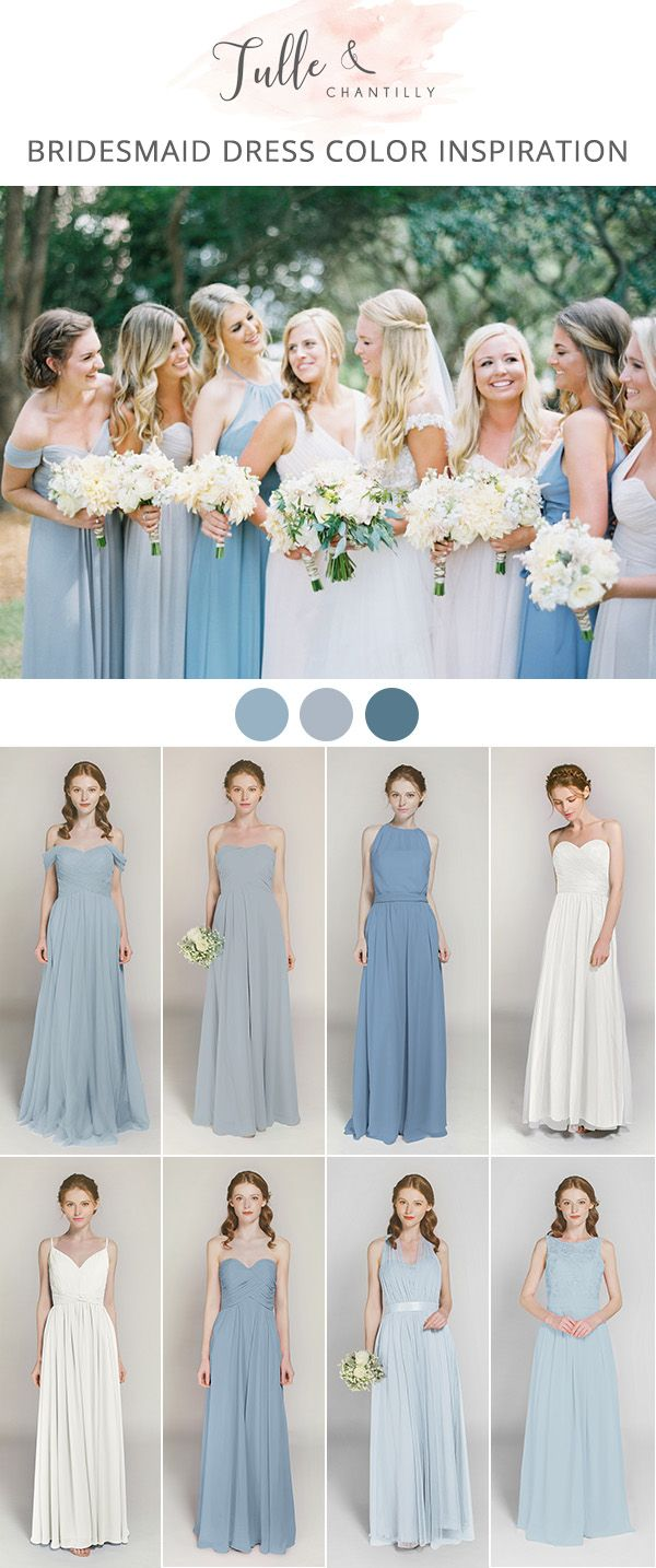 shades of blue mix and match long bridesmaid dresses