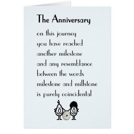 anniversary a funny wedding anniversary poem card zazzle