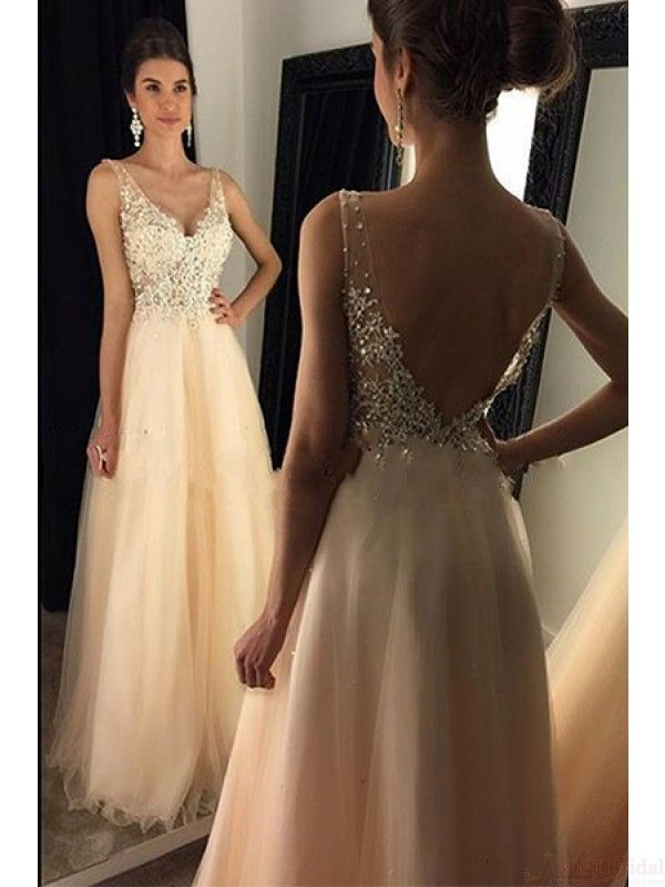 V-neck Beading Applique Long Tulle  Prom Dresses Evening  Dresses  #promdresses #SIMIBridal