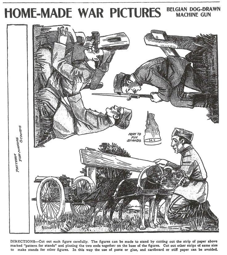 August 22, 1915  BELGIAN Dog-Drawn Machine Gun <> Military Cutouts -