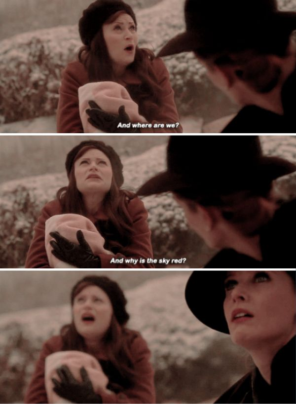 """Where are we? Why is the sky red?"" - Belle and Zelena #OnceUponATime"
