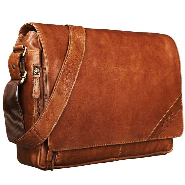 """STILORD """"Nick"""" Umhängetasche Leder Herren Damen Unitasche 15.6 Zoll Laptoptasche Aktentasche Bürotasche Vintage Büffel-Leder Farbe: cognac - glänzend"""