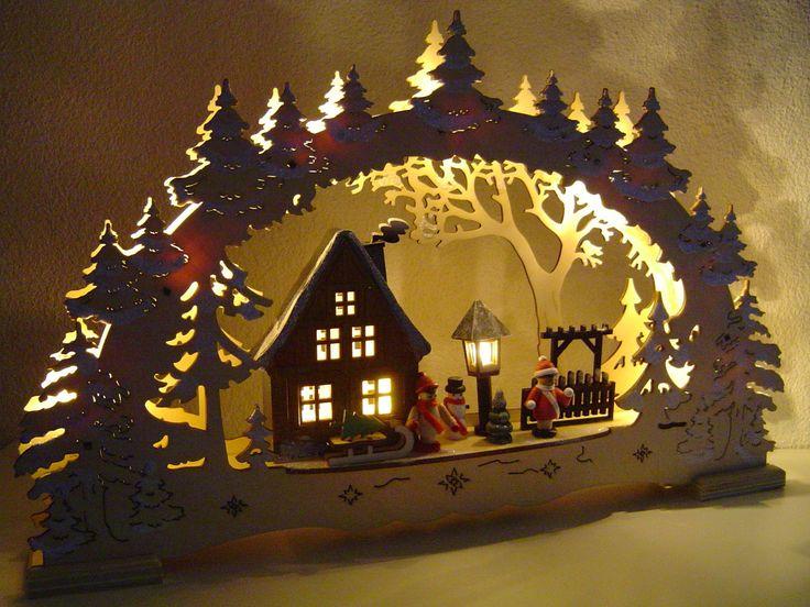 LED Lichterbogen Schwibbogen 3D Winterkinder mit 3 Figuren 43 x 27 10040 | eBay