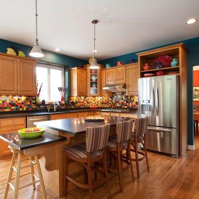 Kitchen Photos Teal Wall Design Orange Kitchen Walls
