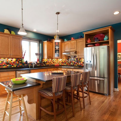 Kitchen photos teal wall design dream home rooms for Teal kitchen decor