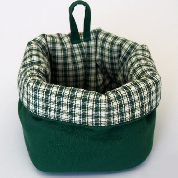Medium fabric basket with lovely checked lining in by paninohome